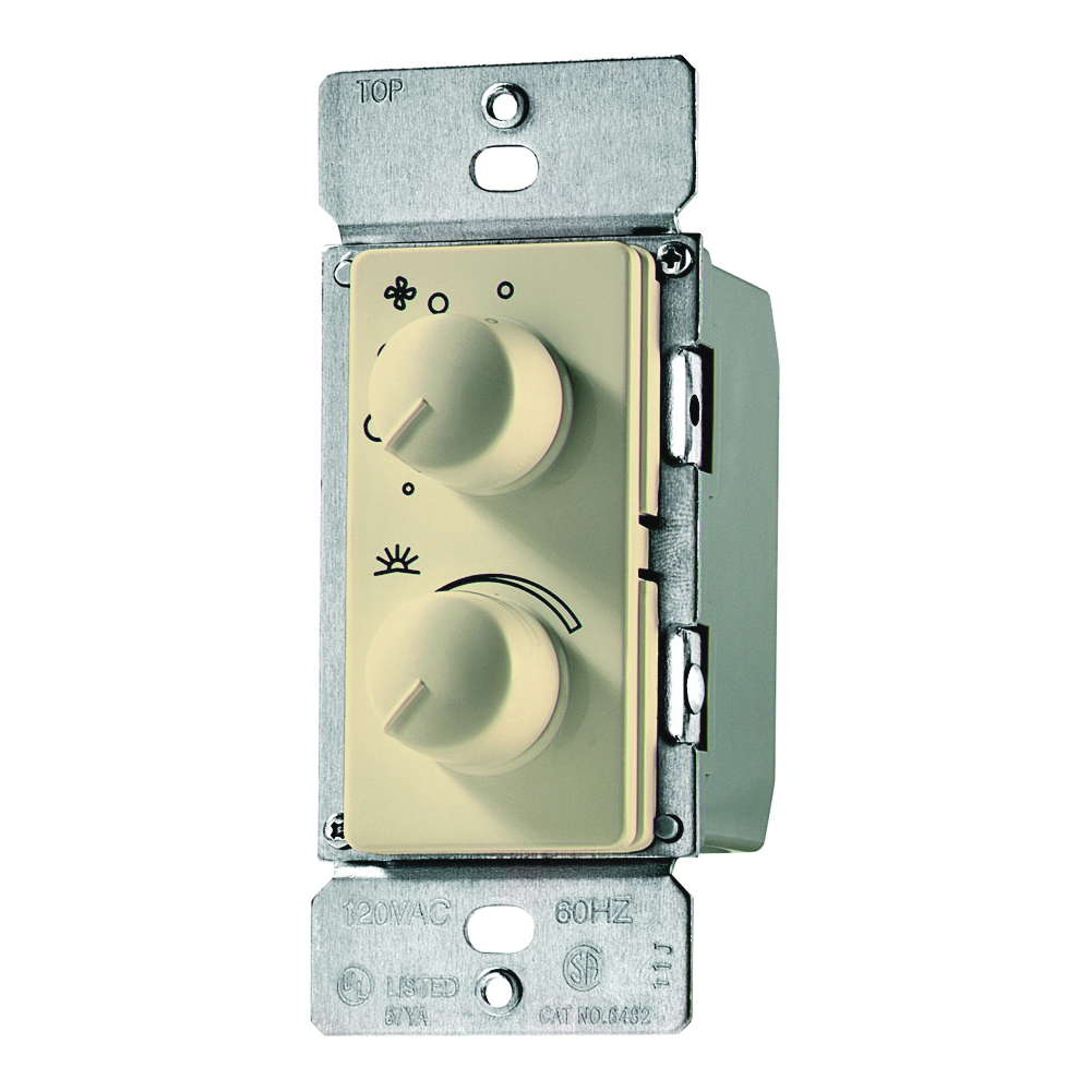 Picture of Eaton Wiring Devices RDC15-V-K Fan/Light Control, 1-Pole, 1.5 A, 120 V, Ivory