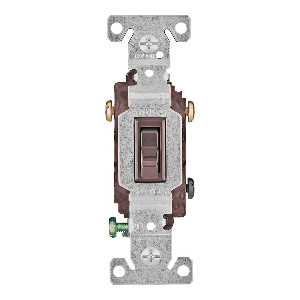 Picture of Eaton Wiring Devices 1303-7B-BOX Toggle Switch, 15 A, 120 V, Polycarbonate Housing Material, Brown