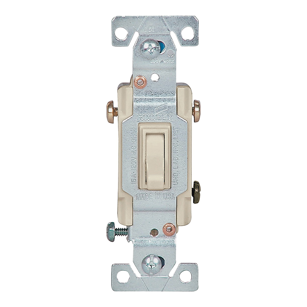 Picture of Eaton Wiring Devices 1303-7V-BOX Toggle Switch, 15 A, 120 V, Polycarbonate Housing Material, Ivory