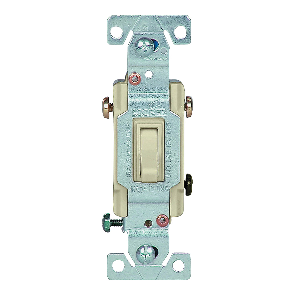 Picture of Eaton Wiring Devices 1303V Toggle Switch, 15 A, 120 V, Polycarbonate Housing Material, Ivory