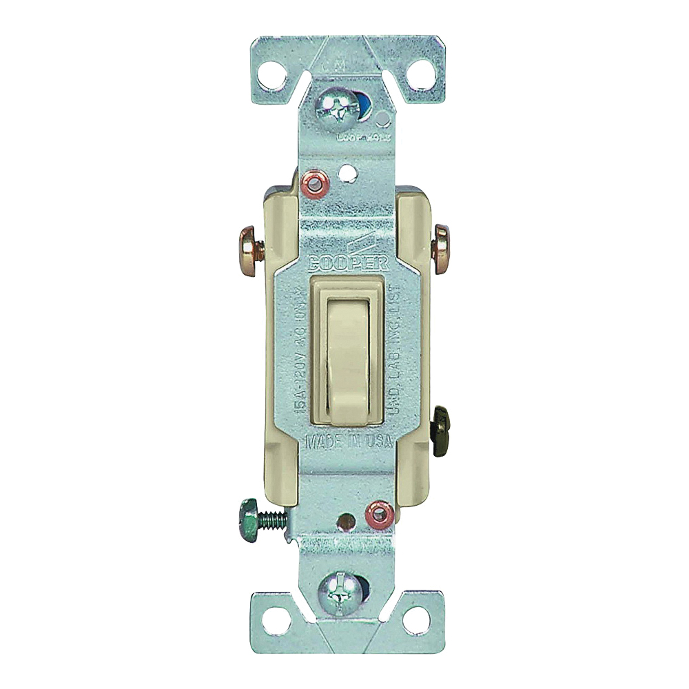 Picture of Eaton Wiring Devices 1303-7V Toggle Switch, 15 A, 120 V, Polycarbonate Housing Material, Ivory