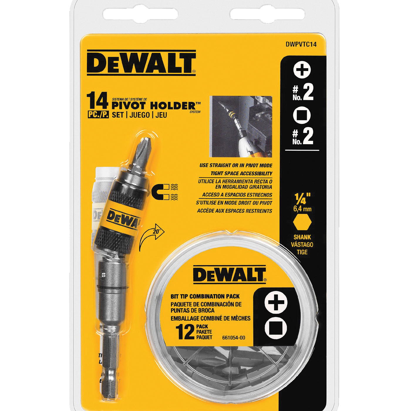 Picture of DeWALT DWPVTC14 Pivot Holder Set, #2 Drive, Phillips/Square Drive, 1/4 in Shank, Hex Shank, Stainless Steel
