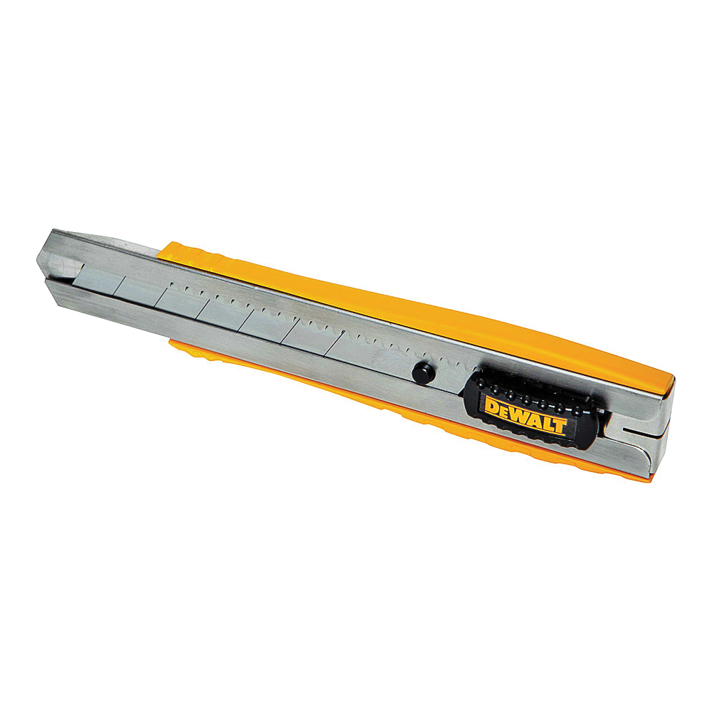 Picture of DeWALT DWHT10045 Utility Knife, 5-1/4 in L Blade, 25 mm W Blade, Metal Blade, Ribbed Handle, Black/Yellow Handle