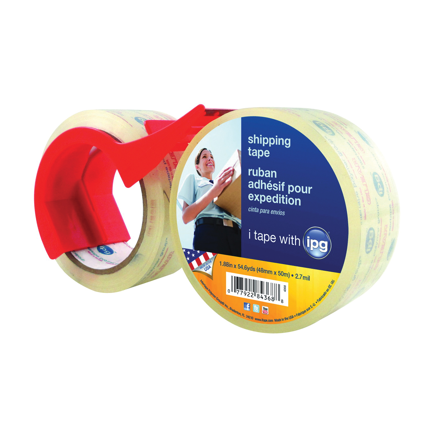 Picture of IPG 4368 Shipping Tape, 54.6 yd L, 1.88 in W, Polypropylene Backing, Clear
