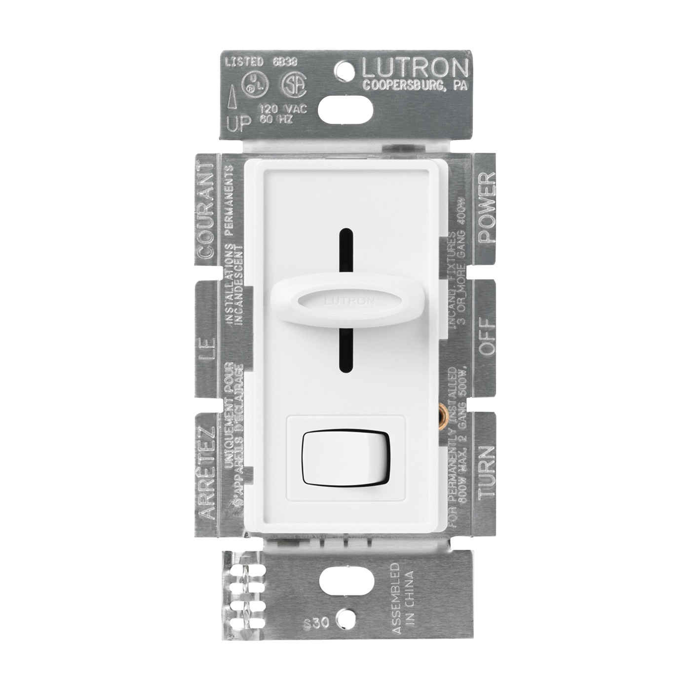 Picture of Lutron Skylark SFSQ-LFH-WH Fan/Light Control Switch, 1.5 A, 120 V, White