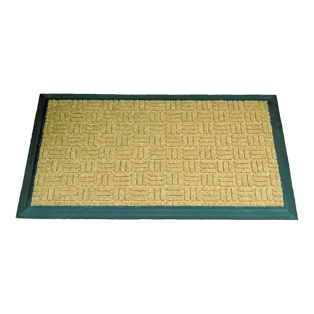 Picture of Simple Spaces 06ABSHE-09-3L18 Door Mat, 30 in L, 18 in W, Natural Coconut Surface, Green Trim