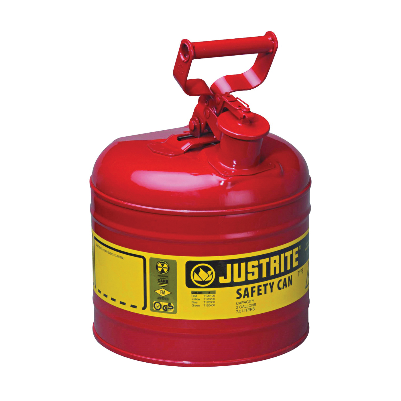 Picture of JUSTRITE 7120100 Safety Can, 2 gal Capacity, Steel, Red