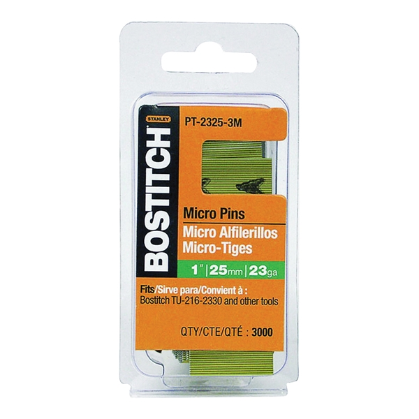 Picture of Bostitch PT-2325-3M Pin Nail, 0.64 in Dia, 1 in L, 23 ga Thick, Steel, Bright