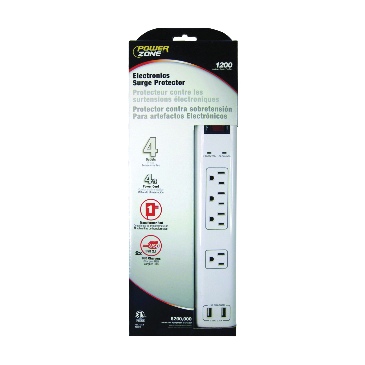 Picture of PowerZone OR505104 Surge Protector, 125 V, 15 A, 4-Outlet