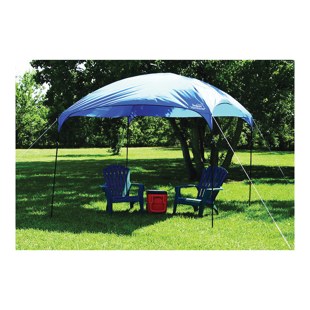 Picture of Texsport 02901 Dining Canopy, 9 ft L, 9 ft W, Fiberglass/Steel Frame, Polyurethane Canopy, Brilliant Blue Canopy