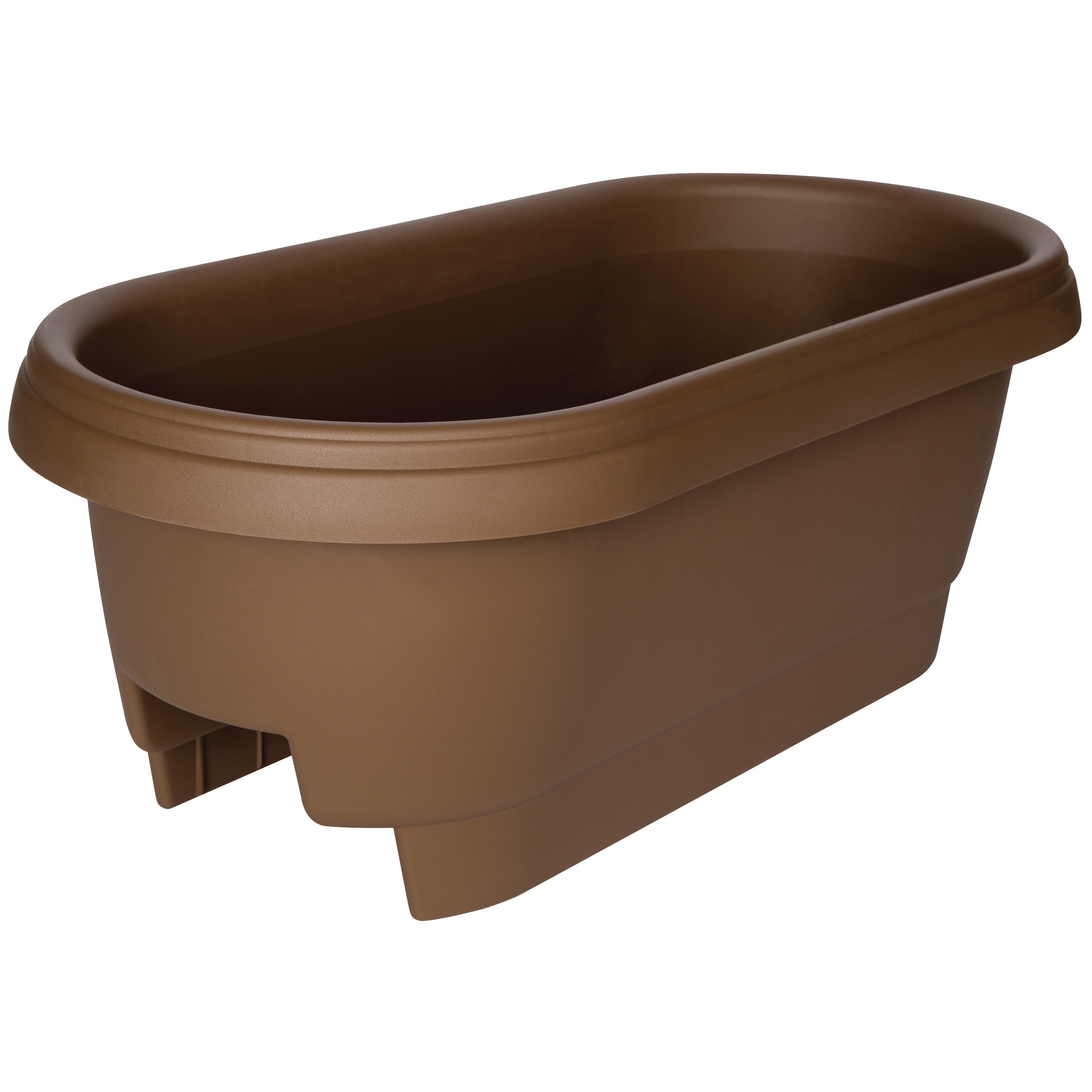 Picture of Bloem 477245-1001 Classic Deck Rail Box Planter, 11.9 in W, 23.9 in D, Plastic, Chocolate, Matte