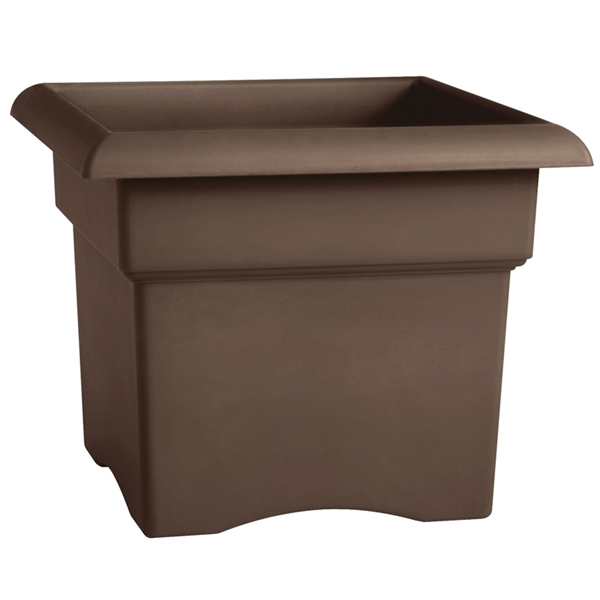 Picture of Bloem 57314CH Deck Box Planter, 14 in W, Square, Plastic, Chocolate