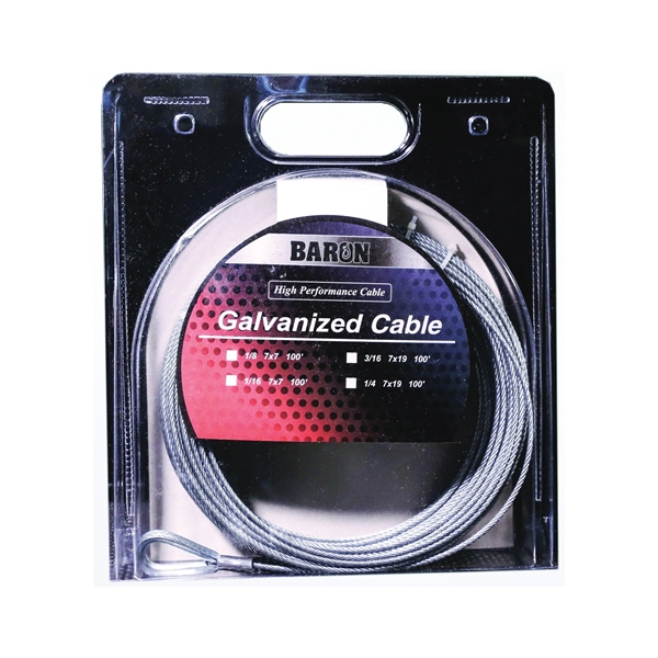 Picture of BARON 57005/50075 Aircraft Cable, 3/16 in Dia, 100 ft L, 740 lb Working Load, Galvanized Steel