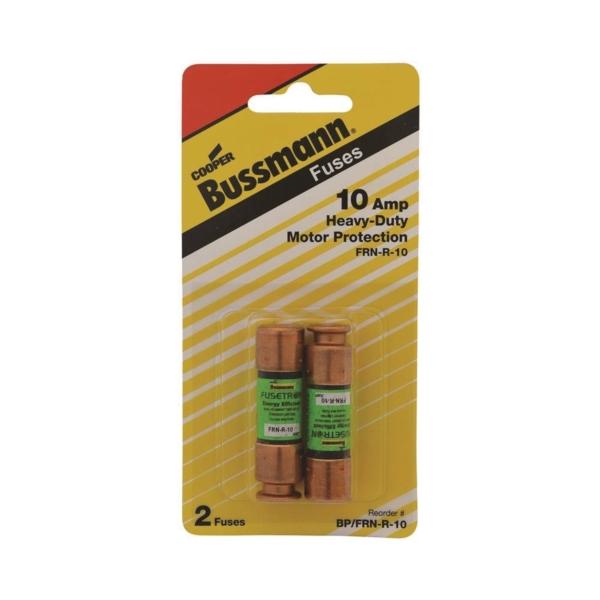 Picture of Bussmann BP/FRN-R-10 Time-Delay Fuse, 10 A, 250 V, 20 kA VDC, 200 kA VAC Interrupt, Cartridge Fuse