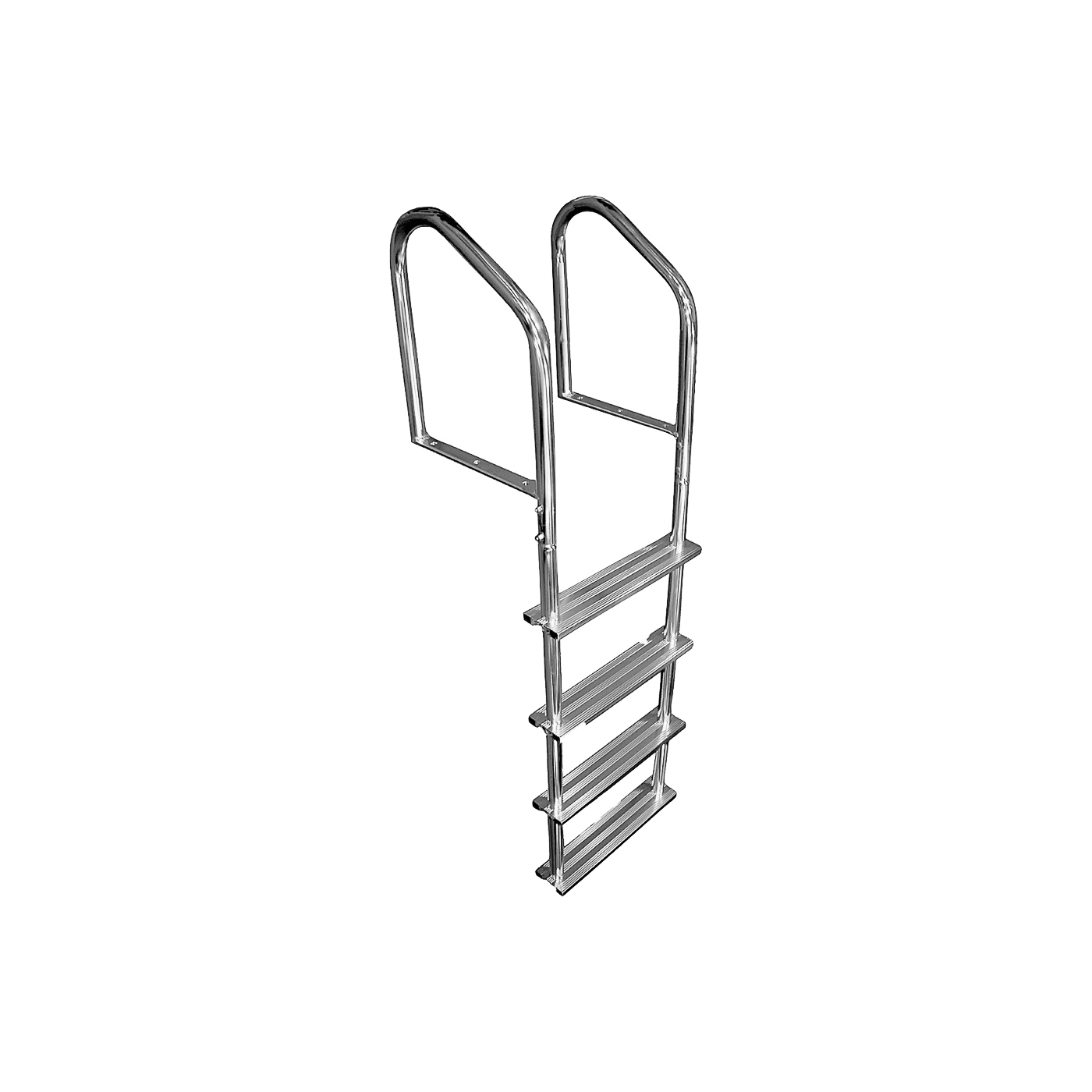 Picture of Multinautic 15513 Tubular Dock Ladder, 5 ft 1 in H, 400 lb, 4-Step, Aluminum, Polished