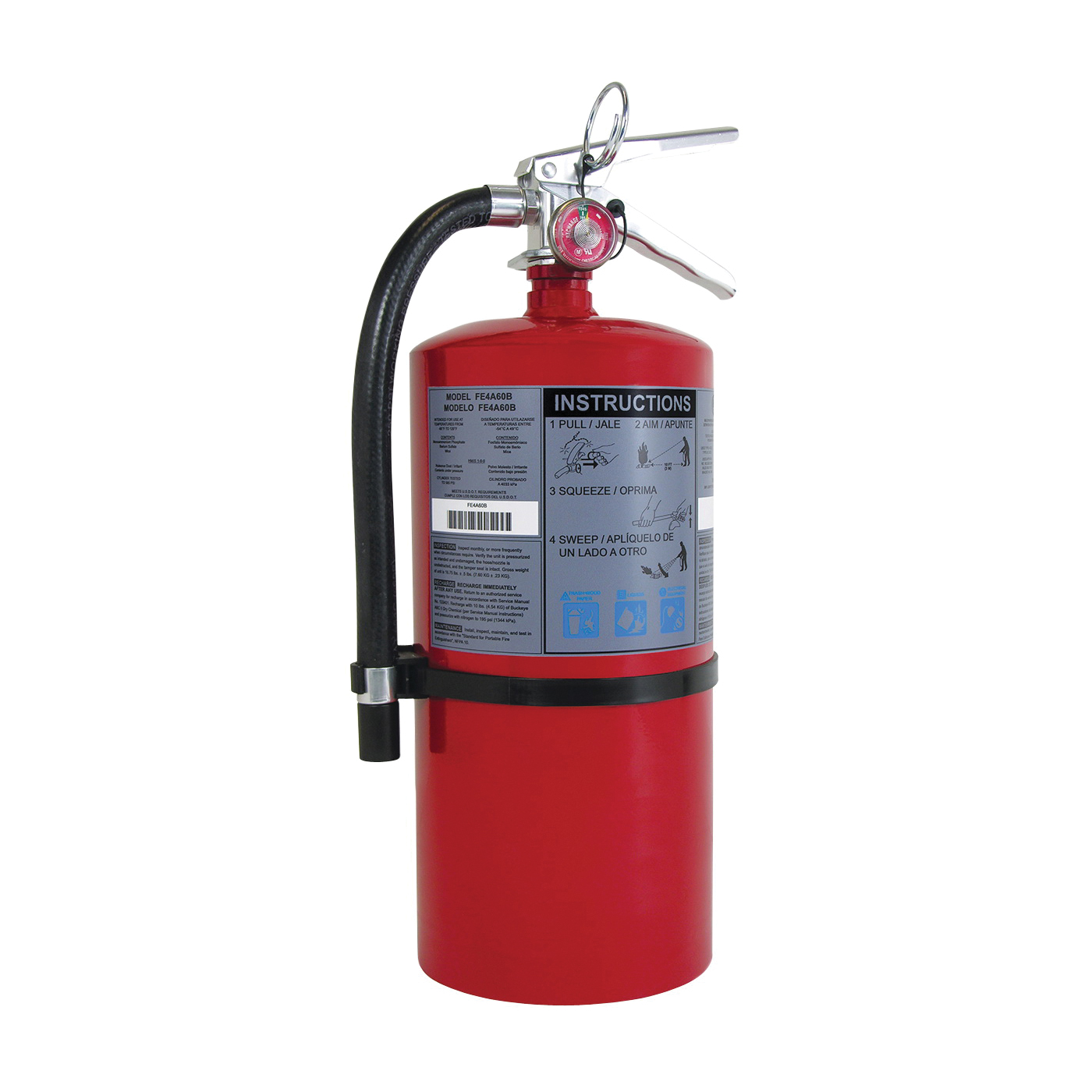 Picture of FIRST ALERT FE20A120B Rechargeable Fire Extinguisher, 20 lb Capacity, Monoammonium Phosphate, 20-A:120-B:C Class