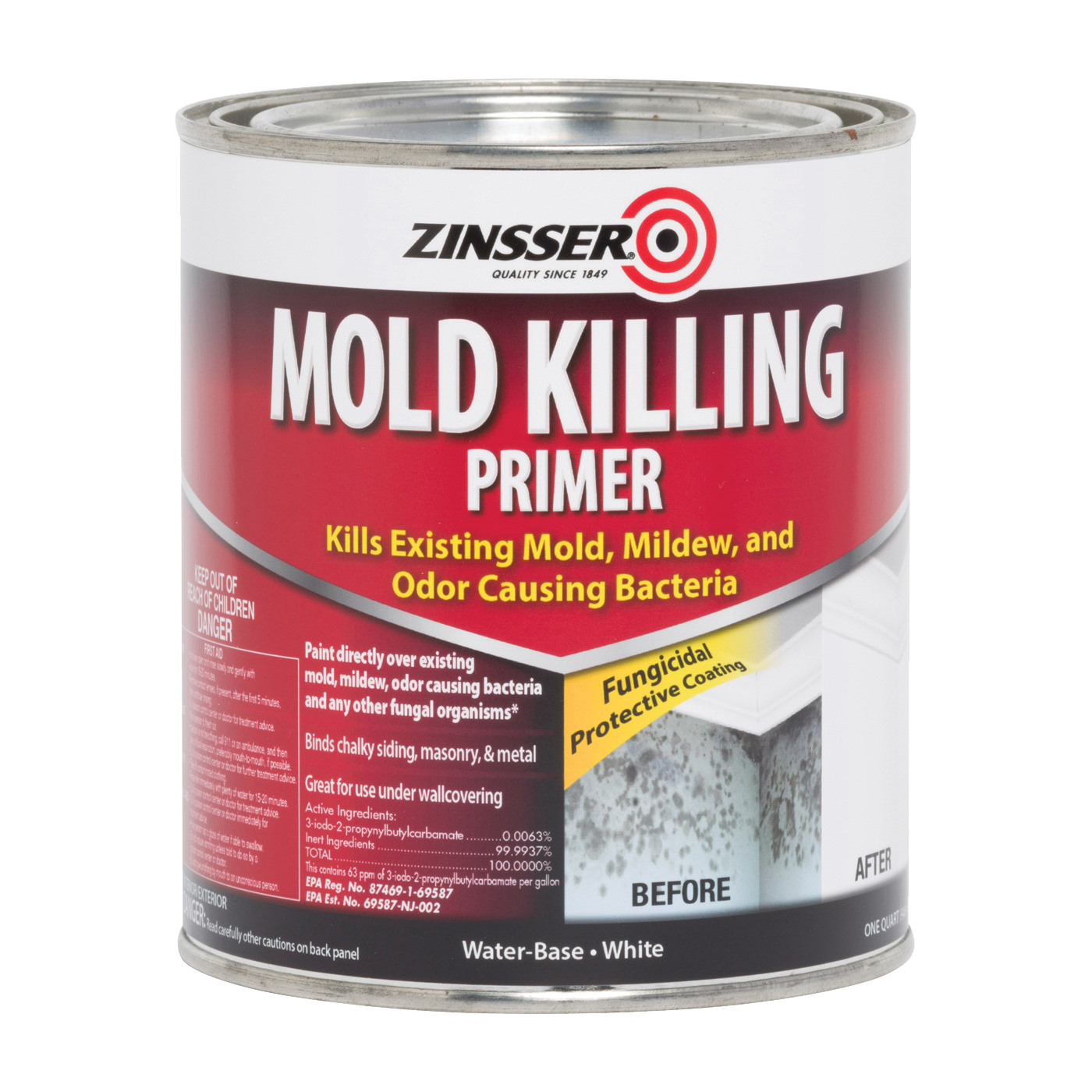 Picture of ZINSSER 276087 Mold Killing Primer, Flat, White, 1 qt, Can