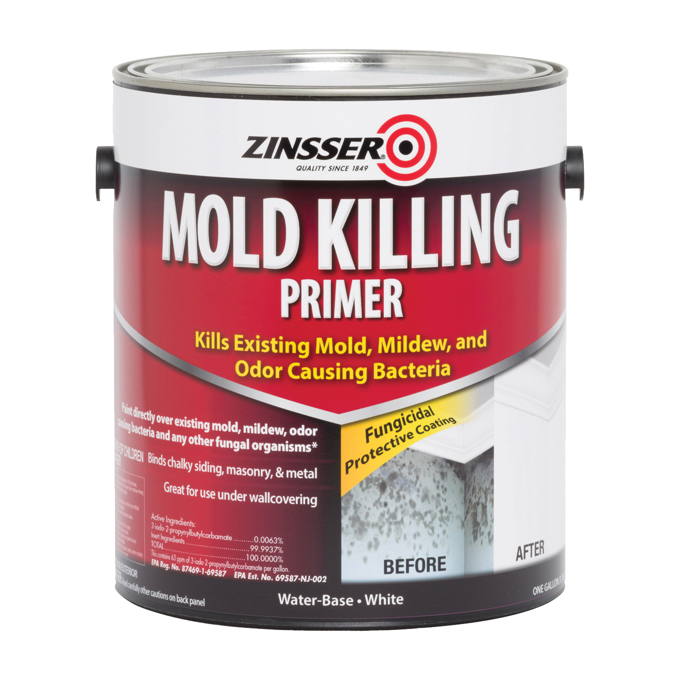 Picture of ZINSSER 276049 Mold Killing Primer, Flat, White, 1 gal, Can
