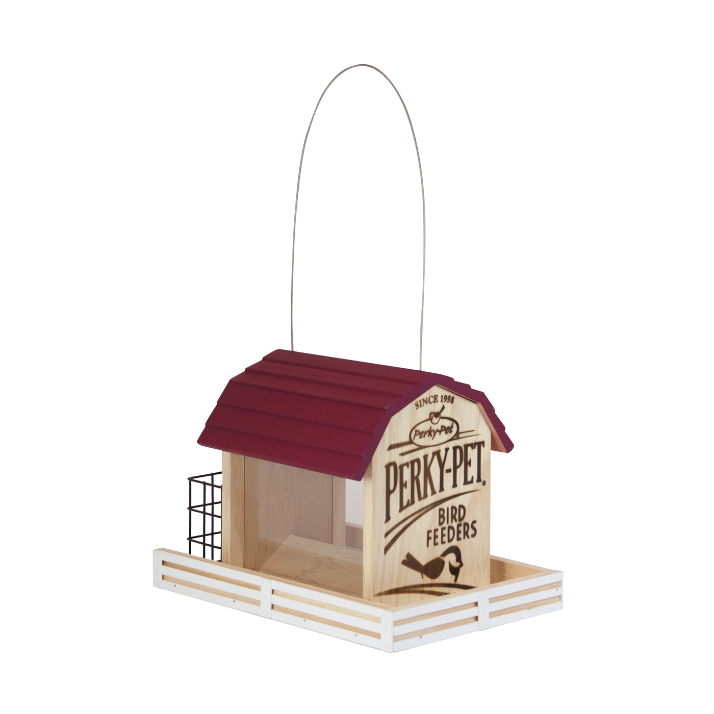 Picture of Perky-Pet 50181 Wood Chalet Wild Bird Feeder, Star Barn, 2 lb, Pine, Hanging Mounting