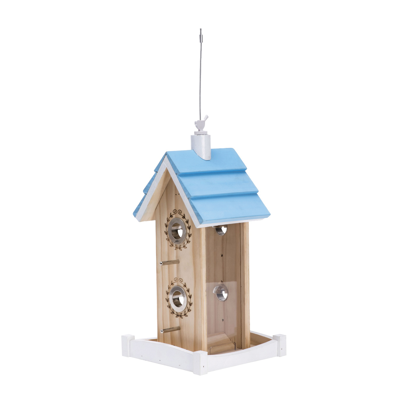 Picture of Perky-Pet 50182 Wood Bird Feeder, Birdie B & B, 2 lb, Pine, Hanging Mounting