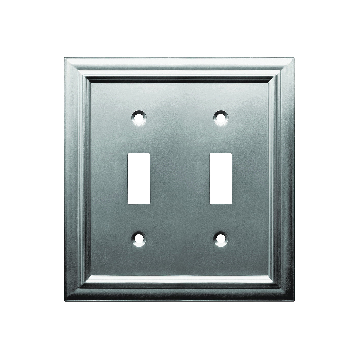 Picture of Amerelle 94TTN Wallplate, 4-15/16 in L, 4-3/4 in W, 2-Gang, Metal, Satin Nickel