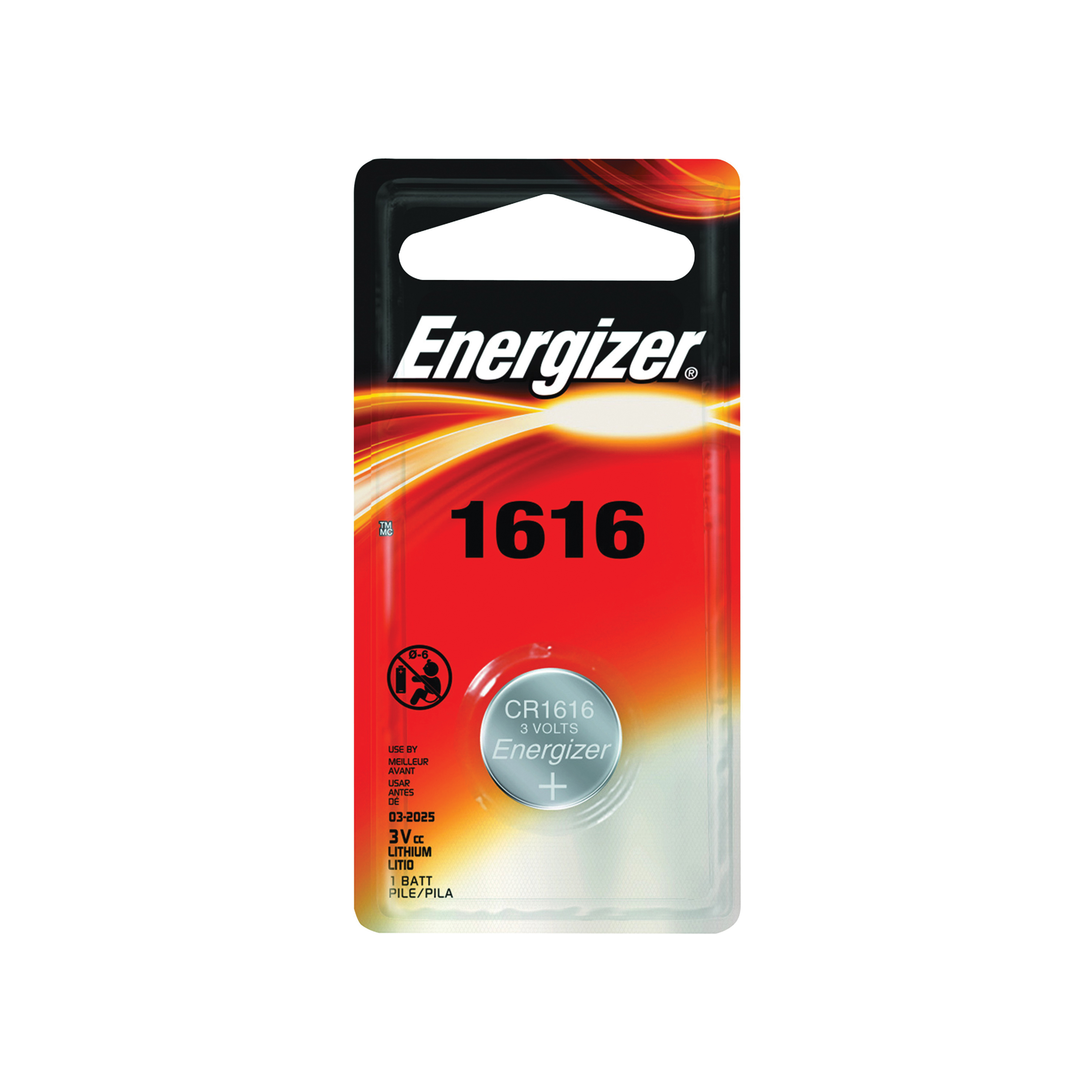 Picture of Energizer ECR1616BP Coin Cell Battery, 3 V Battery, 60 mAh, CR1616 Battery, Lithium, Manganese Dioxide