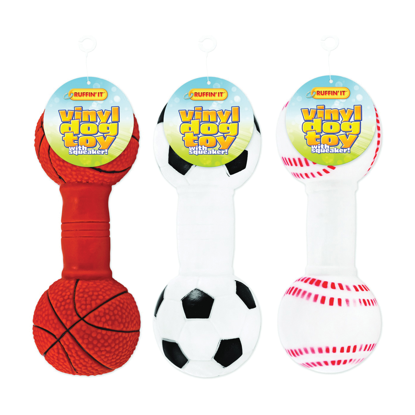 Picture of RUFFIN'IT 20050 Sports Ball Dog Toy, L, Dumbbell Toy, Vinyl, Assorted