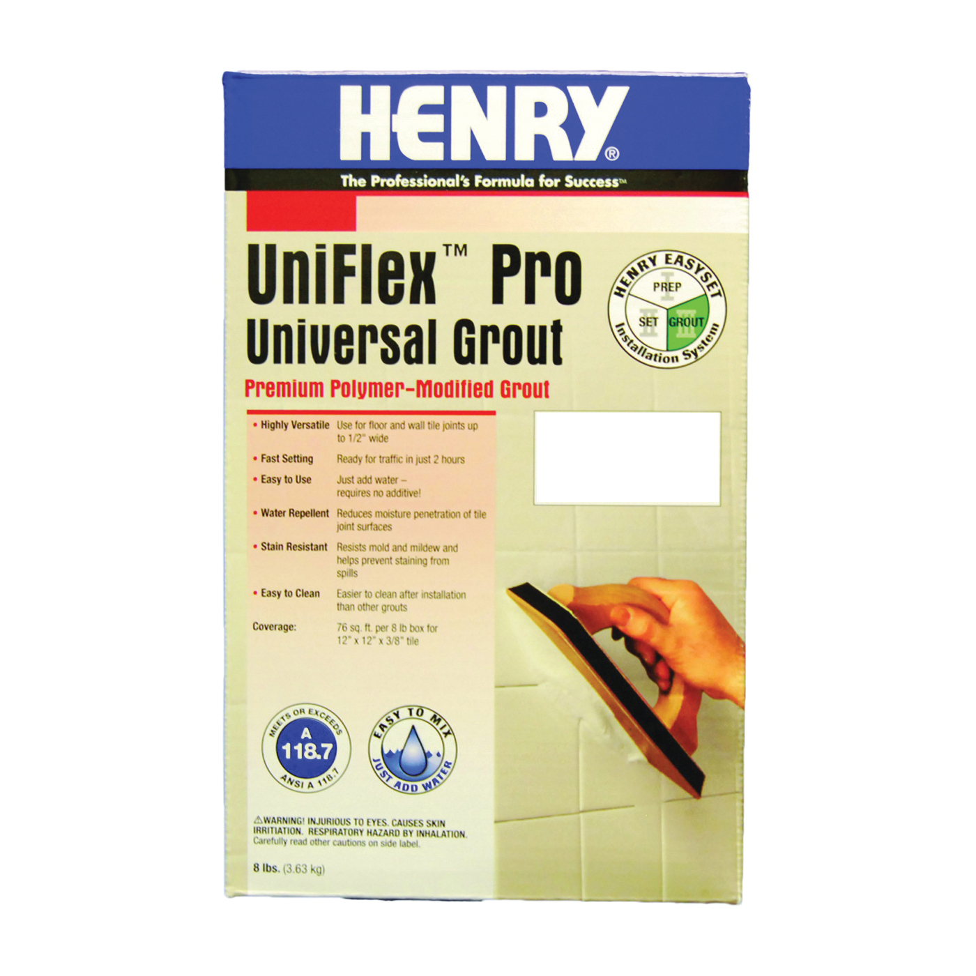 Picture of HENRY UniFlex Pro 13096 Polymer-Modified Grout, Powder, White, 8 lb Package, Box