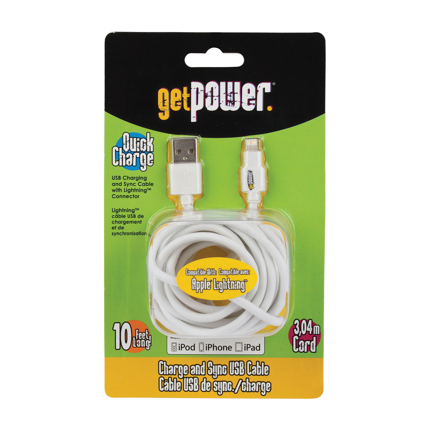 Picture of GetPower GP-XL-USB-L Charge/Sync Cable USB, White, 10 ft L