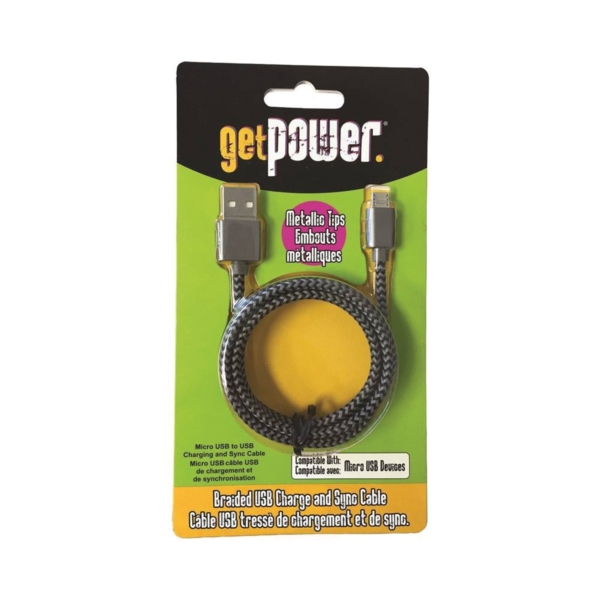 Picture of GetPower GP-USB-BRM Charge/Sync Cable USB, 3 ft L