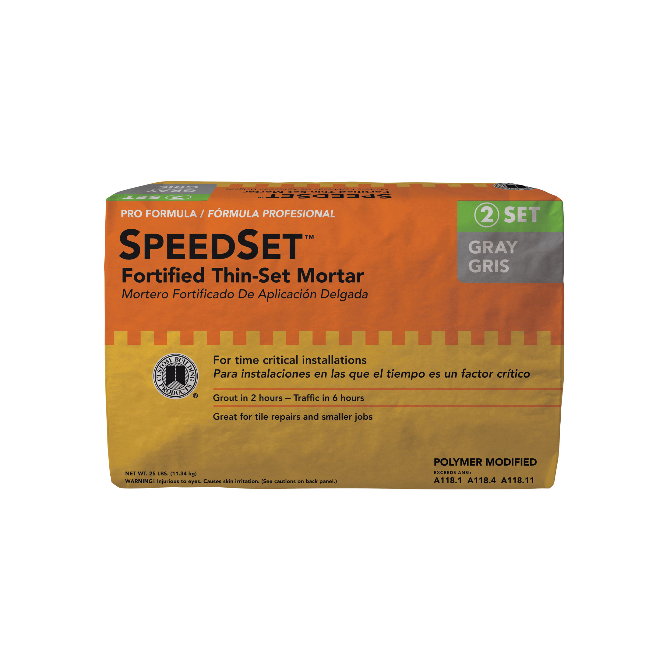 Picture of CUSTOM SpeedSet SDS25 Thin-Set Mortar, Gray, Powder, 25 lb Package, Bag