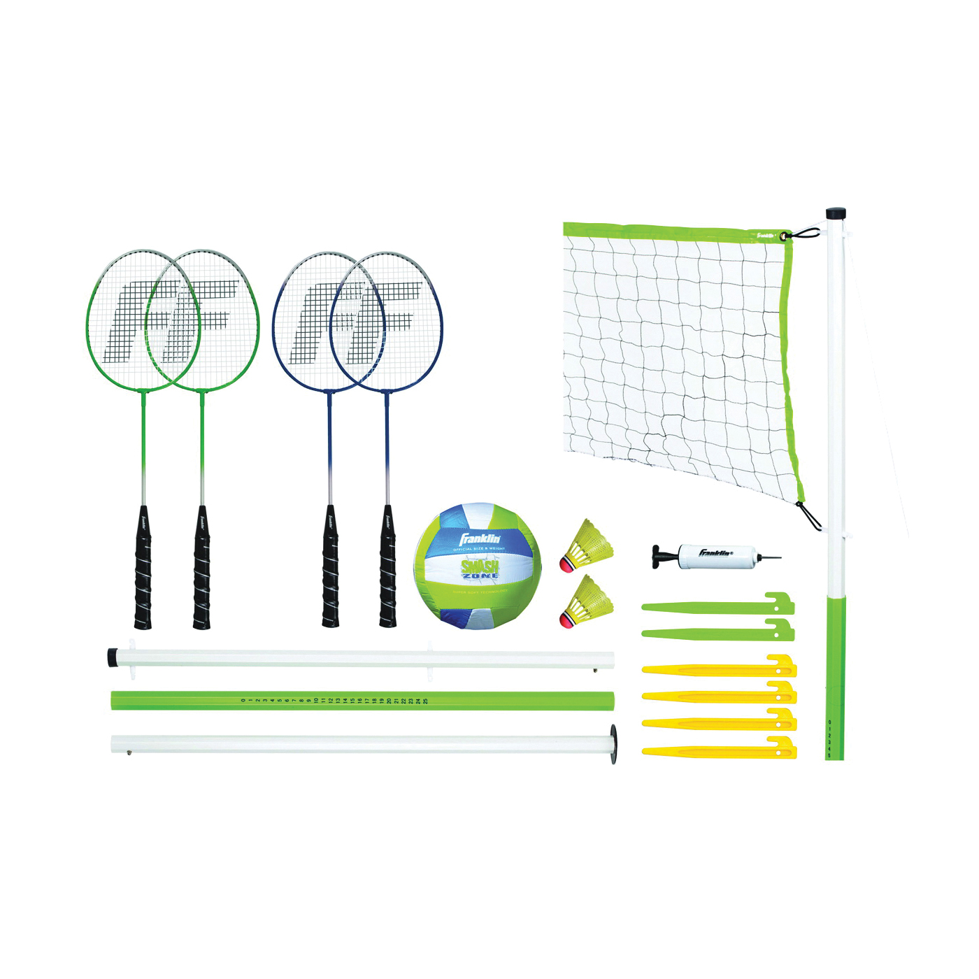 Picture of Franklin Sports 50601 Volleyball and Badminton Set, PVC, 17 -Piece, Bag