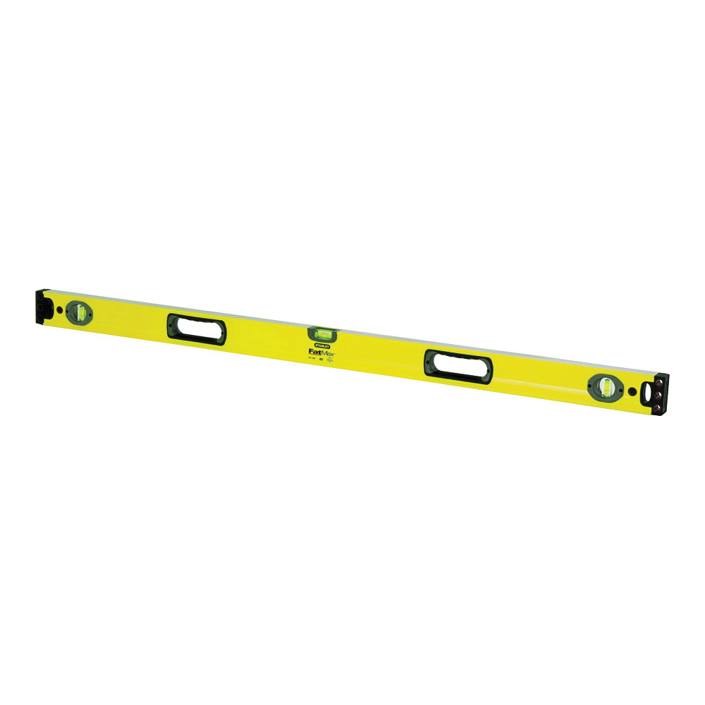 Picture of STANLEY 43-548 Box Beam Level, 48 in L, 3 -Vial, 2 -Hang Hole, Non-Magnetic, Aluminum, Yellow