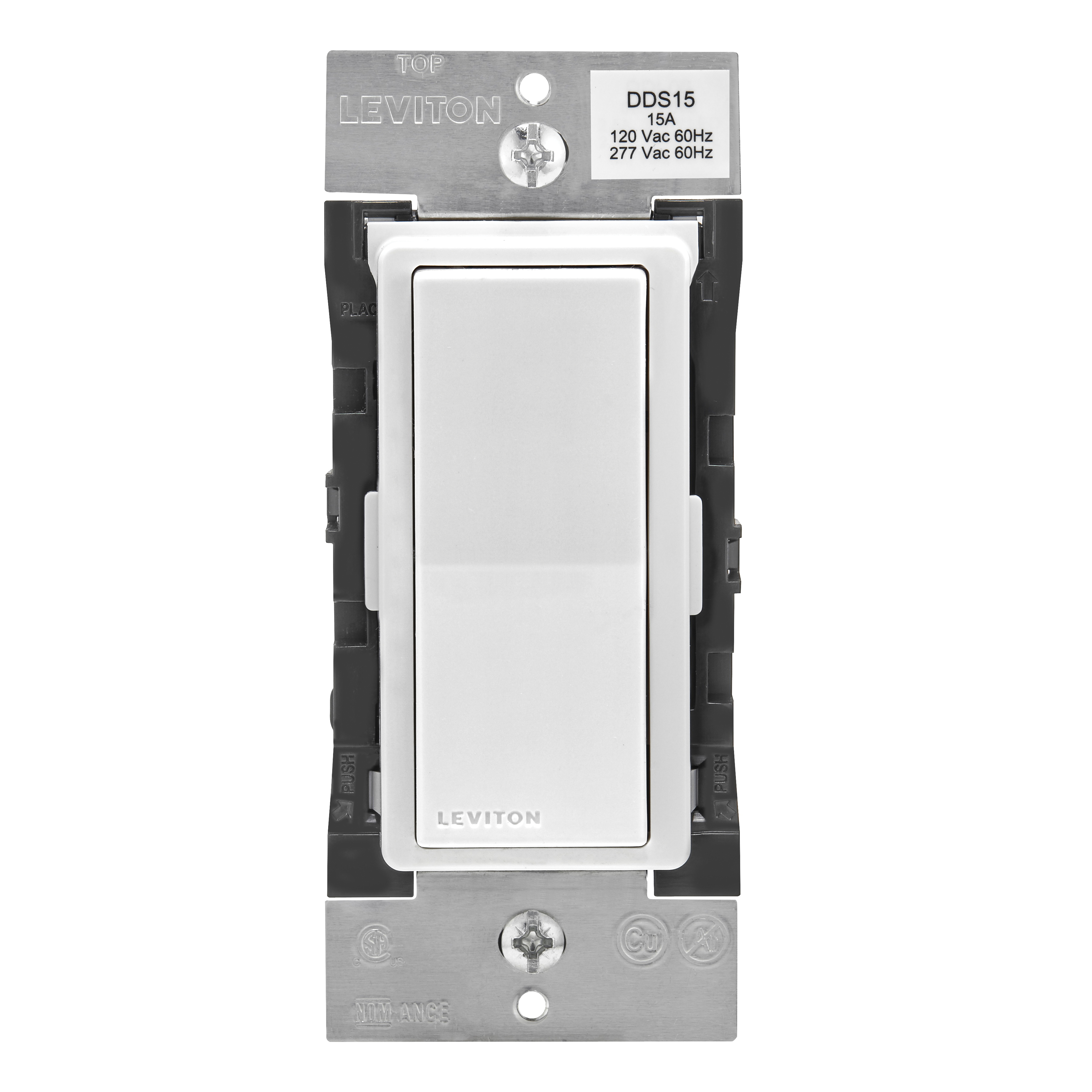 Picture of Leviton Decora Digital R00-DDS15-BDM Dual Voltage Switch with Timer, 1-Pole, 3-Way, 120/277 VAC, 60 Hz, Bluetooth