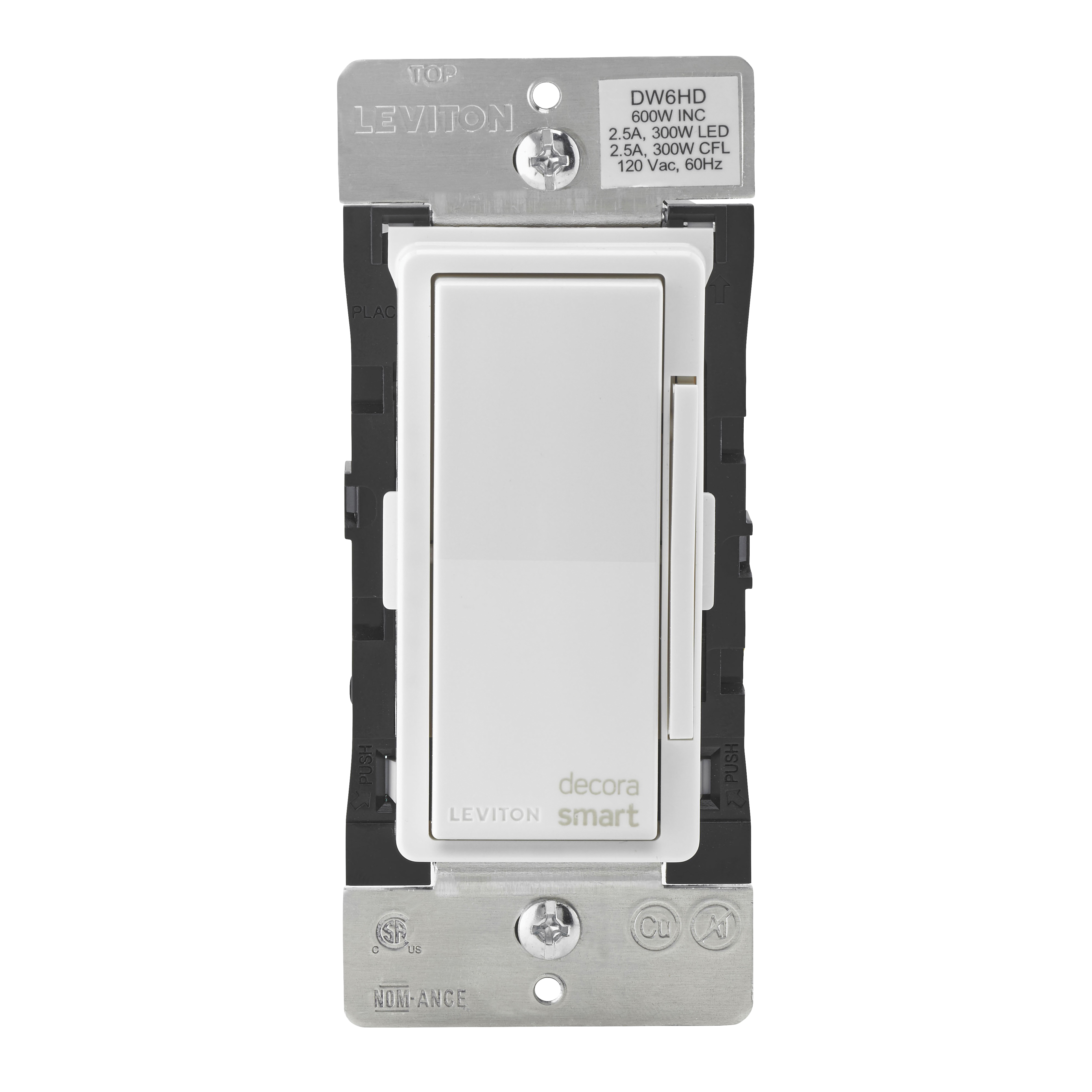 Picture of Leviton Decora Smart R01-DW6HD-1RZ Dimmer, 1-Pole, 3-Way, 120 V, 60 Hz, Wi-Fi, Hardwired, Light Almond/White