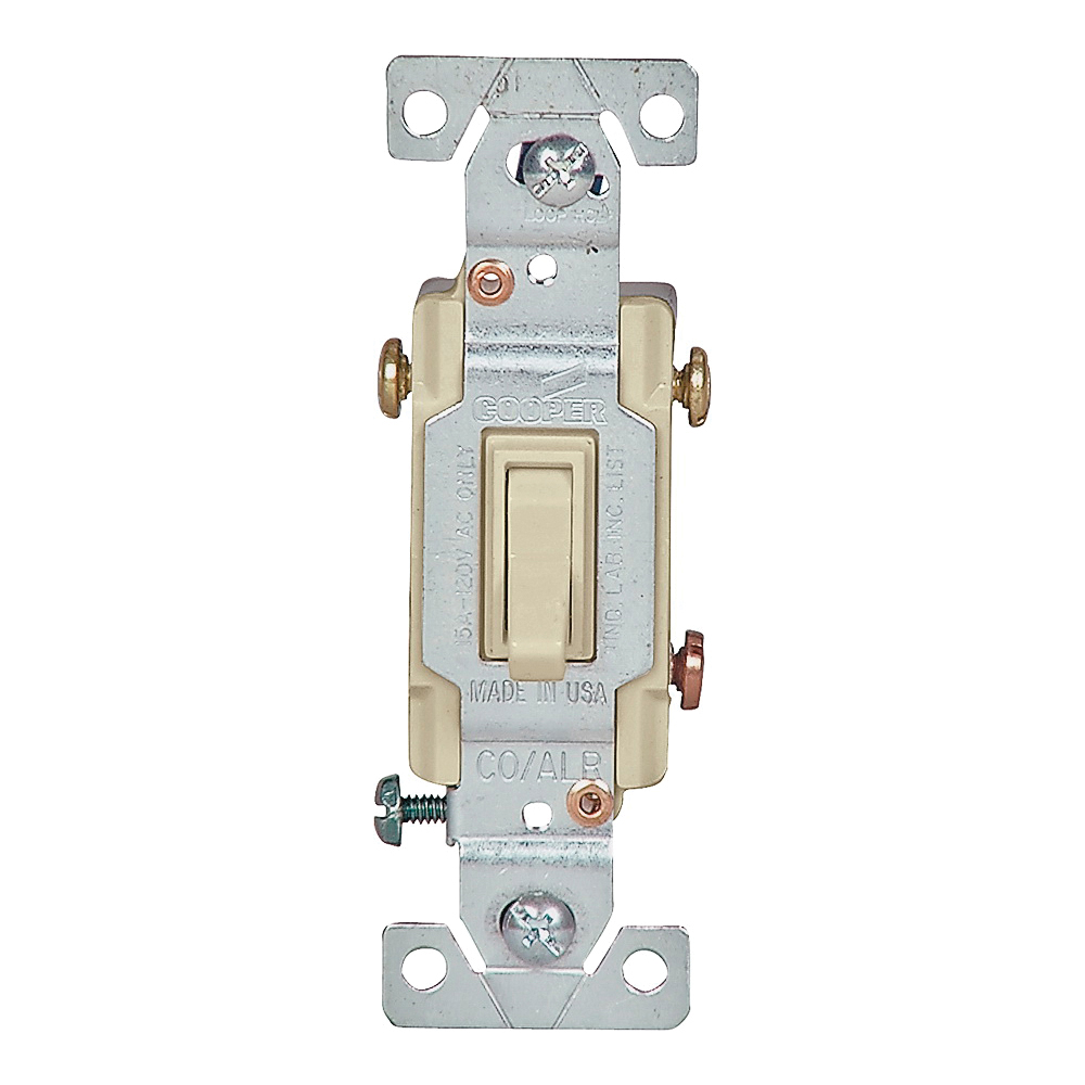 Picture of Eaton Wiring Devices 5223V-7V-BU Toggle Switch, 15 A, 120 V, Screw Terminal, Ivory