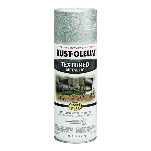Picture of RUST-OLEUM STOPS RUST 251053 Textured Spray Silver, Solvent-Like, Silver, 12 oz, Aerosol Can
