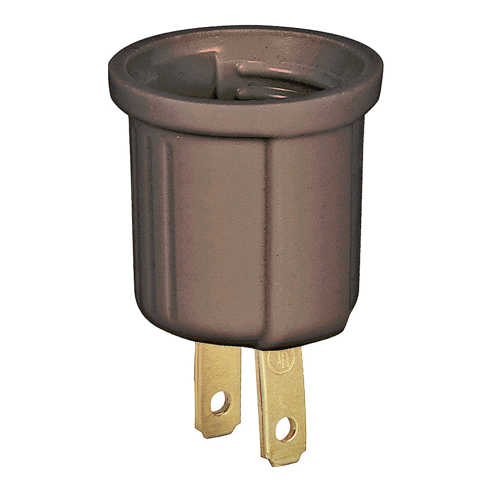 Picture of Eaton Wiring Devices BP738B Lampholder Adapter, 660 W, 1-Outlet, Thermoplastic, Brown
