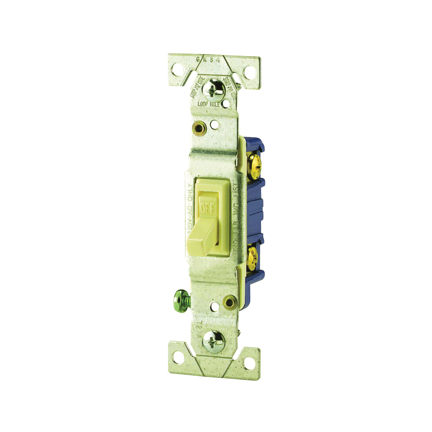 Picture of Eaton Wiring Devices C1301-7V Toggle Switch, 15 A, 120 V, Push-In Terminal, 5-20R, Polycarbonate Housing Material