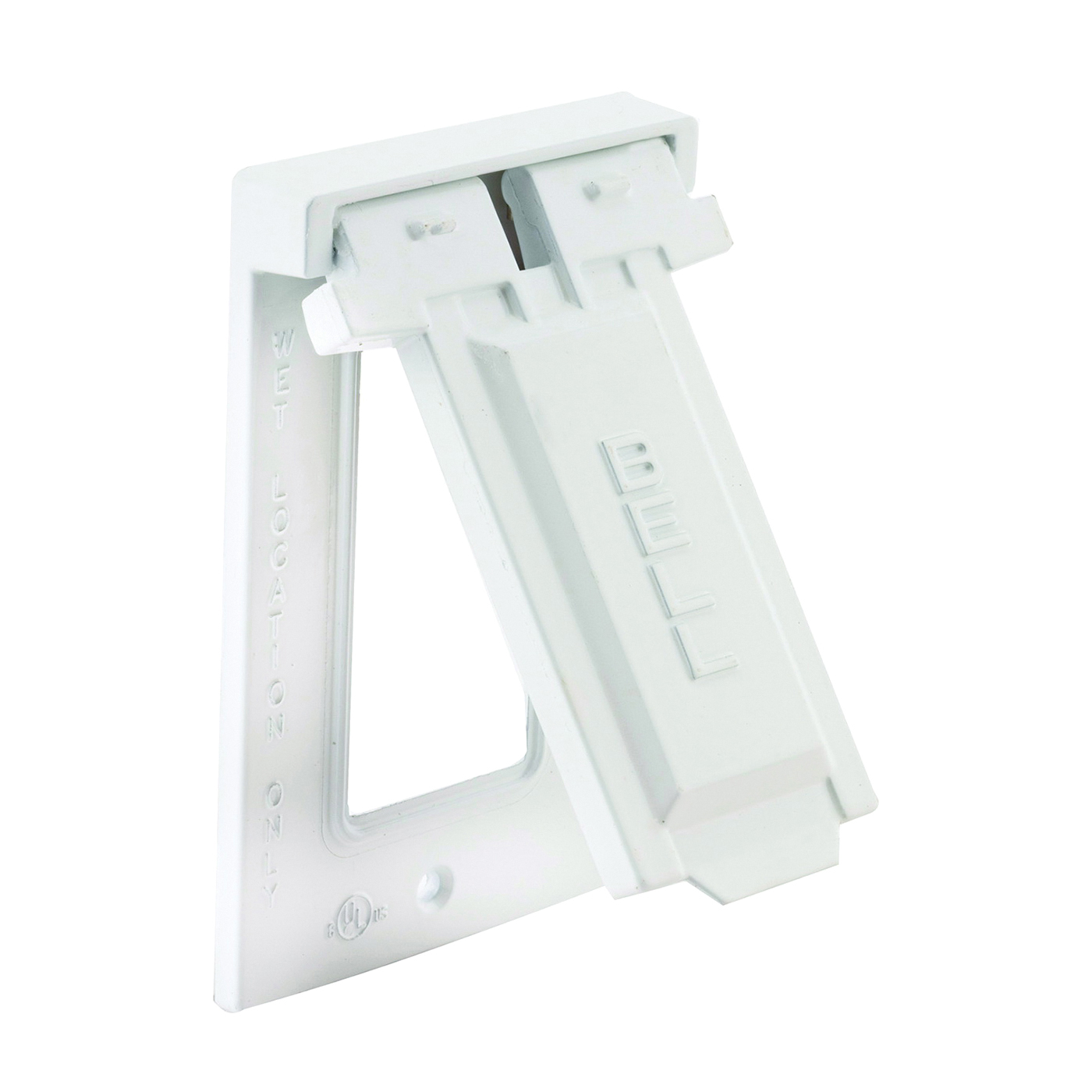 Picture of HUBBELL 5103-1 Cover, 4-9/16 in L, 2-13/16 in W, Metal, White, Powder-Coated