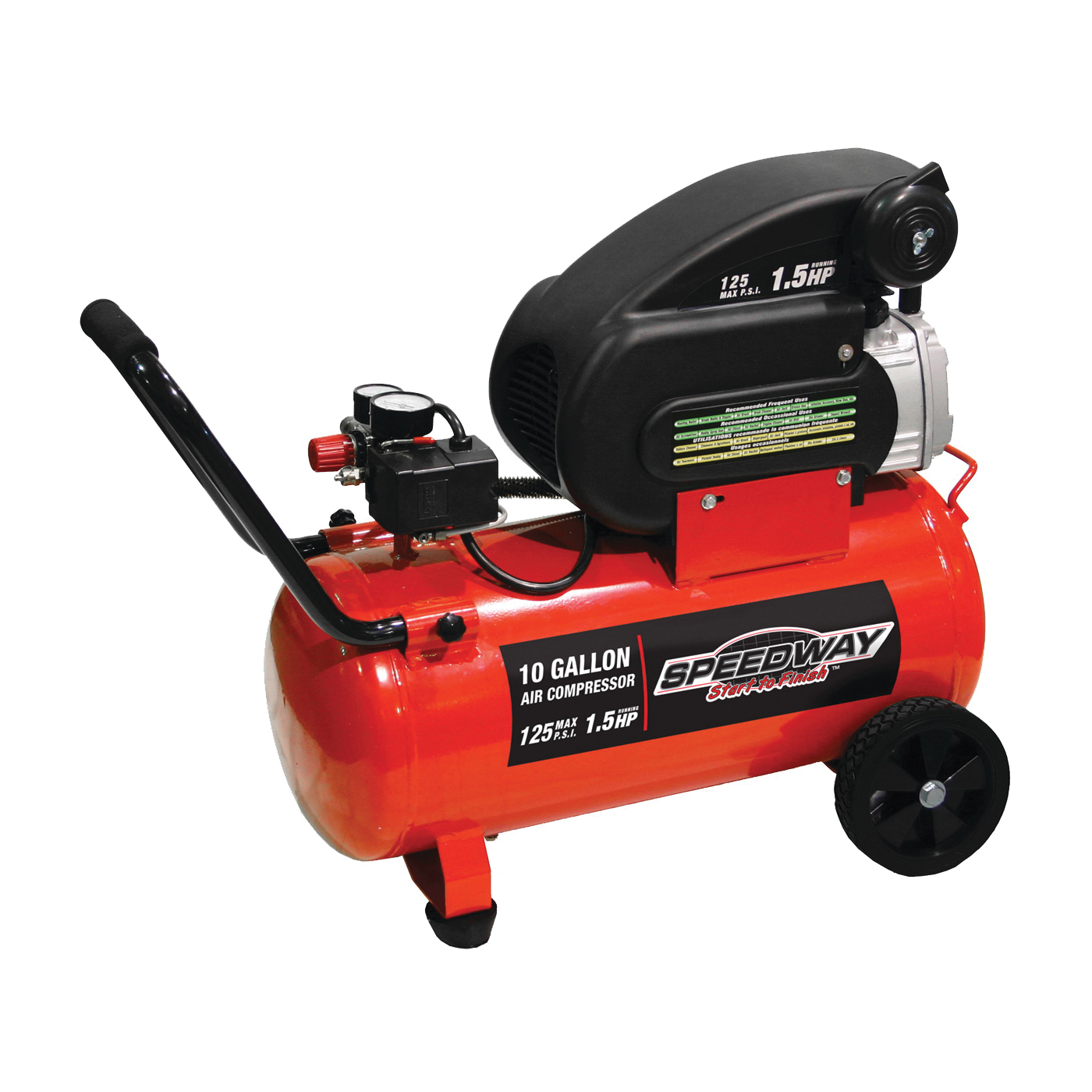 Picture of Speedway 52956 Air Compressor, 10 gal Tank, 1.5 hp, 125 psi Pressure, 6 cfm Air