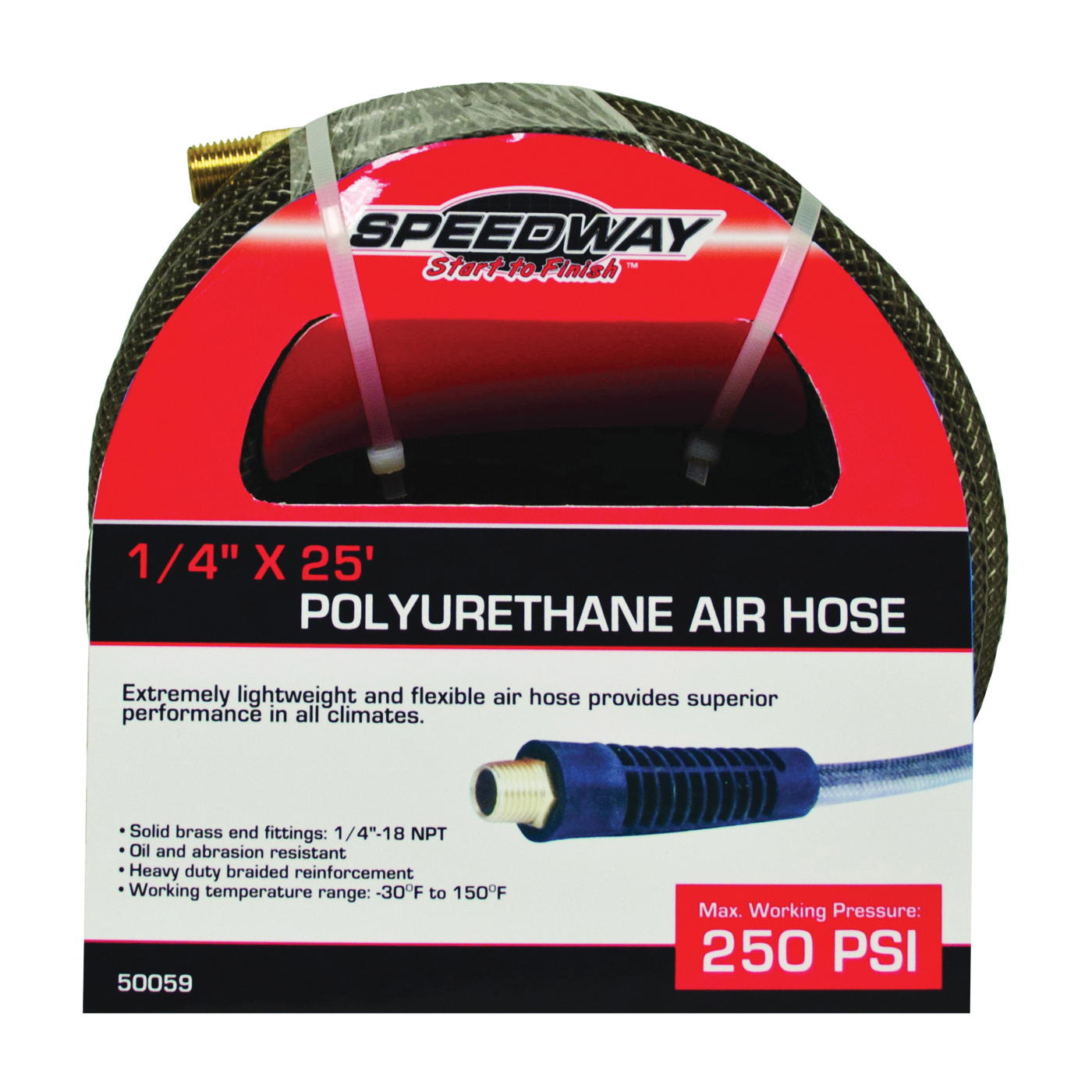 Picture of Speedway 50059 Air Hose, 1/4 in ID, 25 ft L, NPT, 250 psi Pressure, Polyurethane
