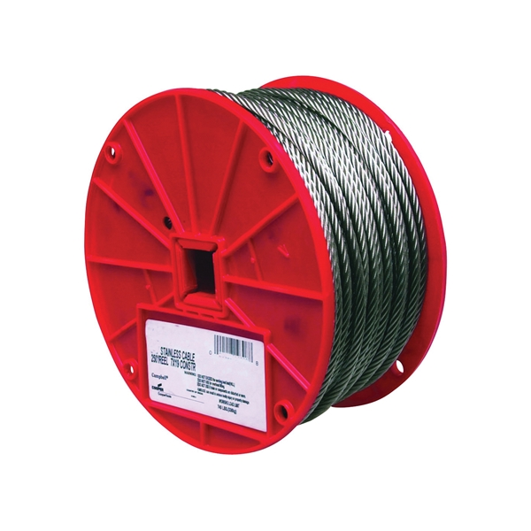 Picture of Campbell 7000826 Aircraft Cable, 1/4 in Dia, 250 ft L, 1280 lb Working Load, 304 Stainless Steel