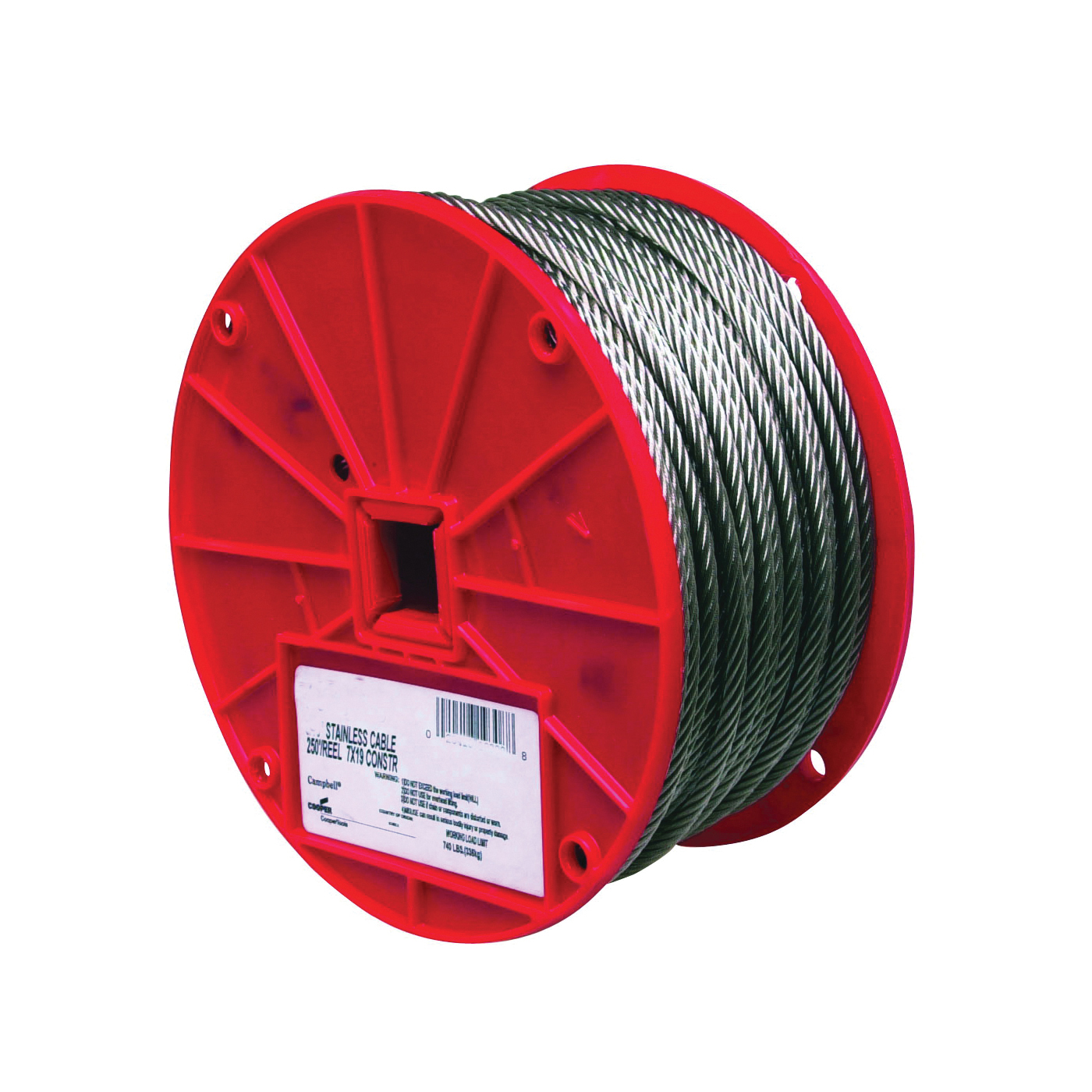 Picture of Campbell 7000626 High-Strength Cable, 3/16 in Dia, 250 ft L, 740 lb Working Load, Stainless Steel, Reel