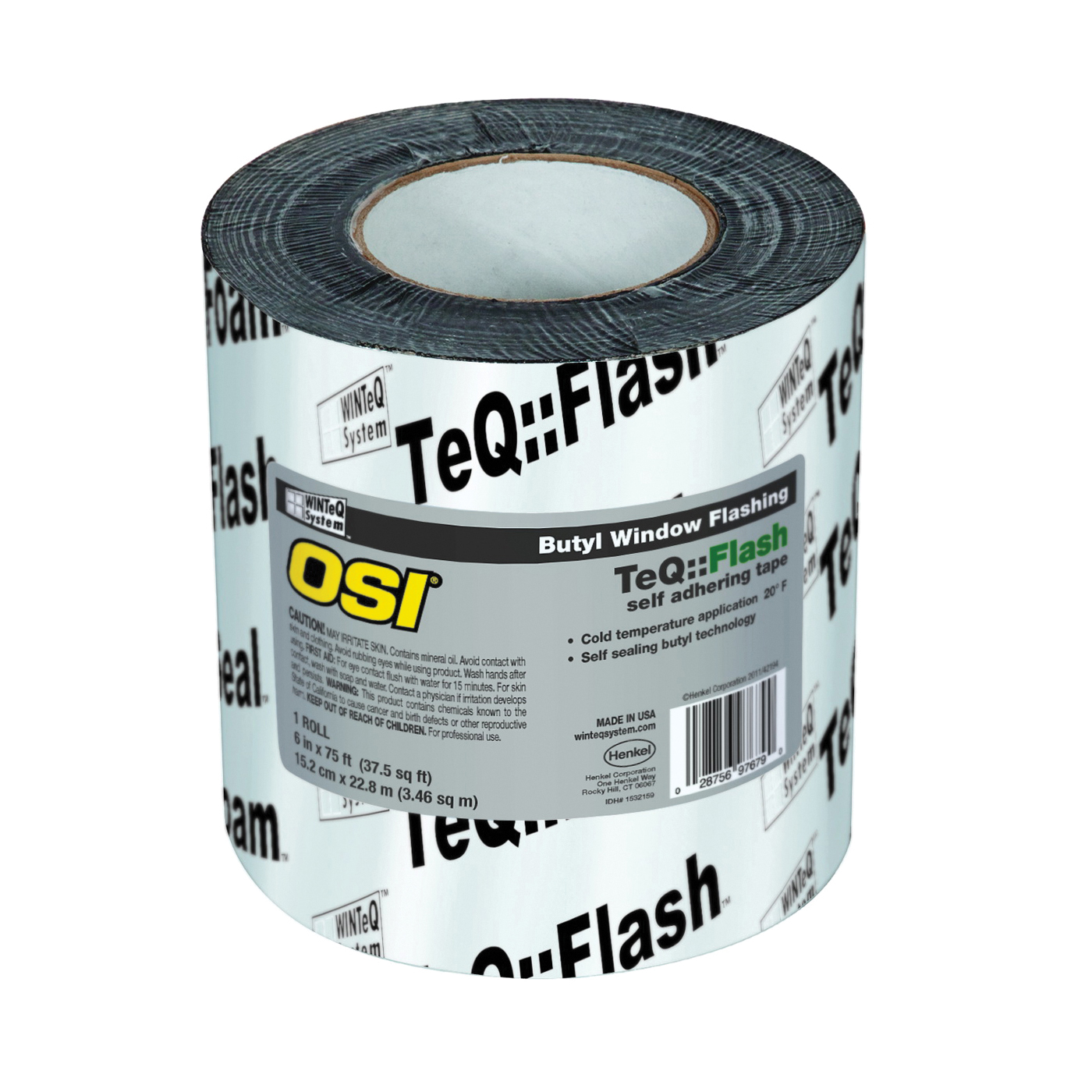 Picture of OSI Butyl Flash 1532159 Window Flashing Tape, 75 ft L, 6 in W, Black, Self Adhesive