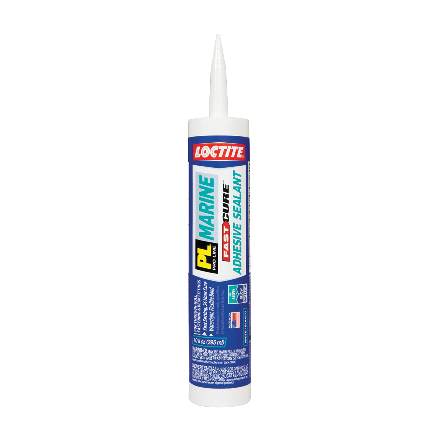 Picture of Loctite PL Marine 2016891 Adhesive Sealant, White, 24 hr Curing, 32 to 100 deg F, 10.1 fl-oz Package, Cartridge