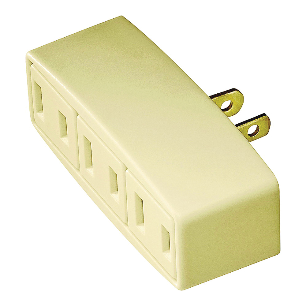 Picture of Eaton Wiring Devices 1747V-BOX Outlet Tap, 2-Pole, 15 A, 125 V, 3-Outlet, NEMA: 1-15R, Ivory