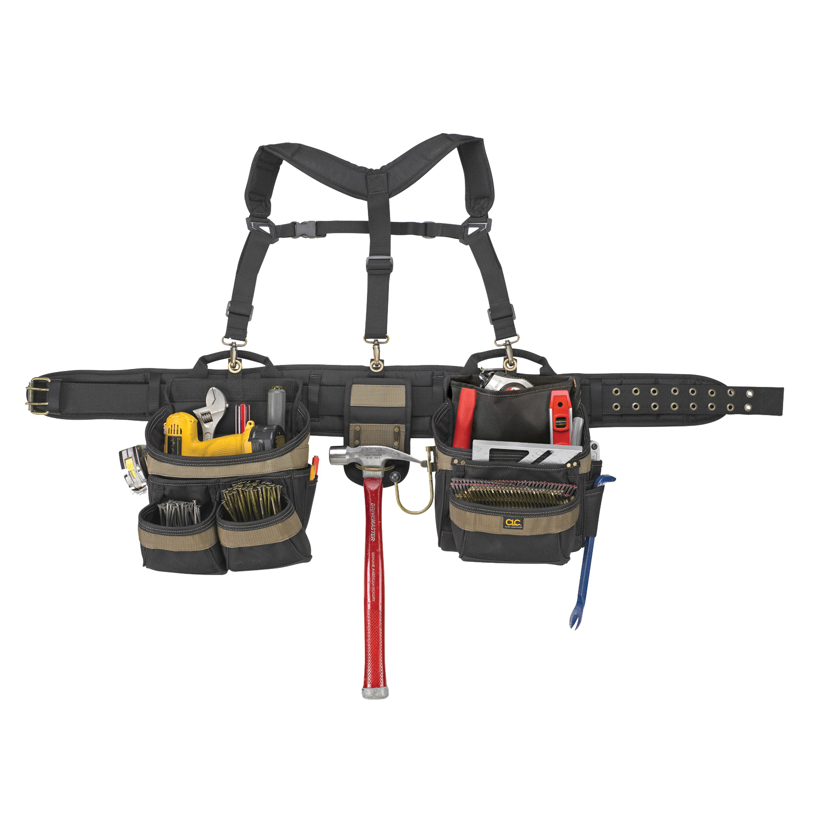 Picture of CLC Tool Works 6714 Tool Belt, 29 to 46 in Waist, Polyester, Black/Khaki, 31 -Pocket