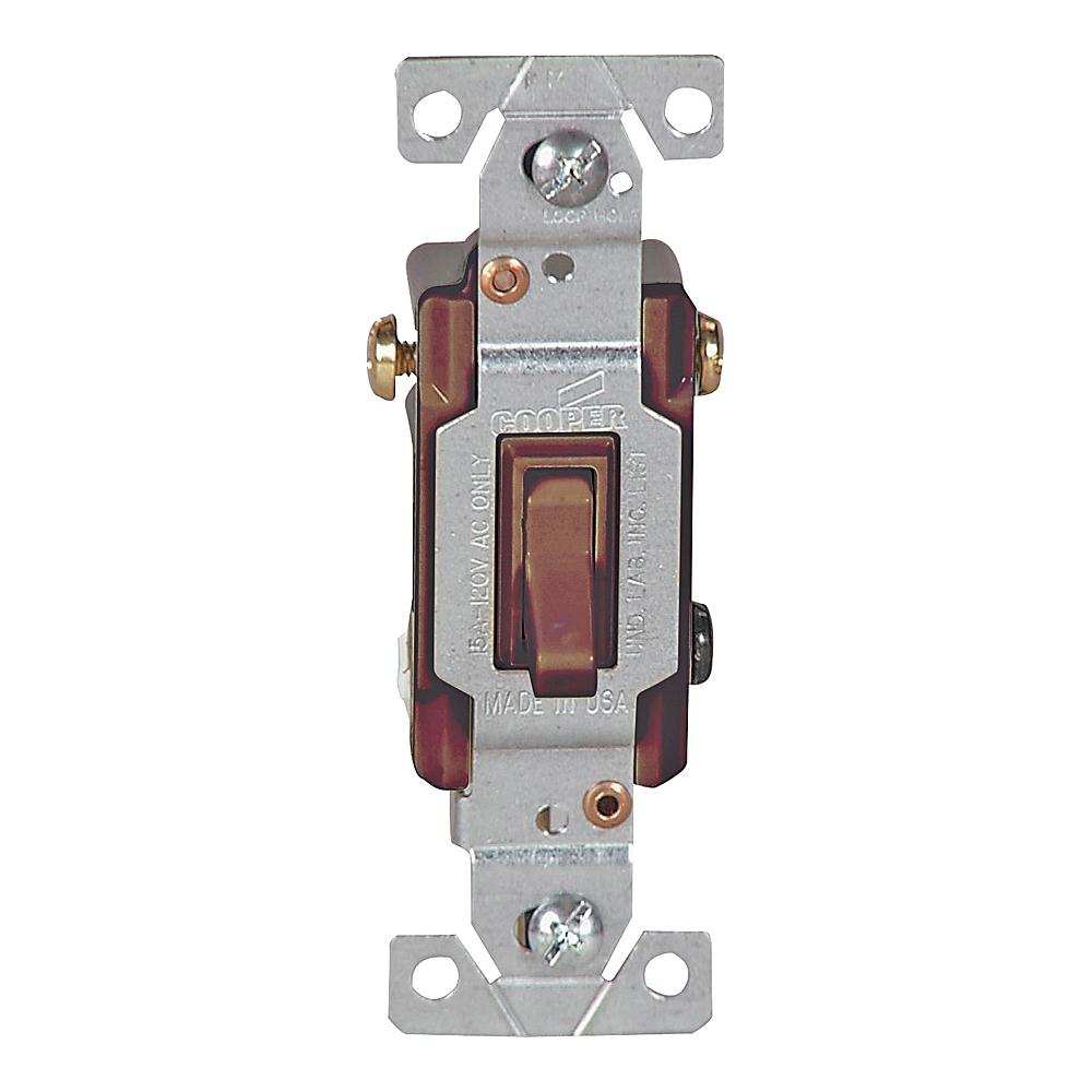 Picture of Eaton Wiring Devices 1303B-BOX Toggle Switch, 15 A, 120 V, Polycarbonate Housing Material, Brown