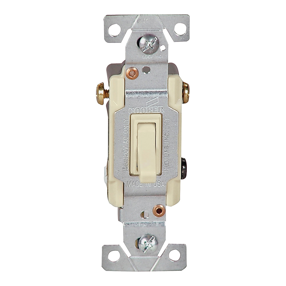 Picture of Eaton Wiring Devices 1303V-BOX Toggle Switch, 15 A, 120 V, Polycarbonate Housing Material, Ivory